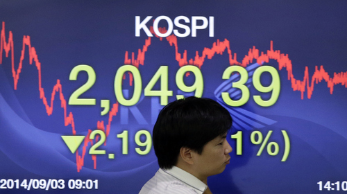 A currency trader walks by a screen showing the Korea Composite Stock Price Index (KOSPI) at the foreign exchange dealing room of the Korea Exchange Bank headquarters in Seoul, South Korea, Wednesday, Sept. 3, 2014. Asian stock markets rose Wednesday, lifted by new signs of strength in the U.S. economy and expectations that Europe's central bank will provide more support to the flagging region. (AP Photo/Lee Jin-man)