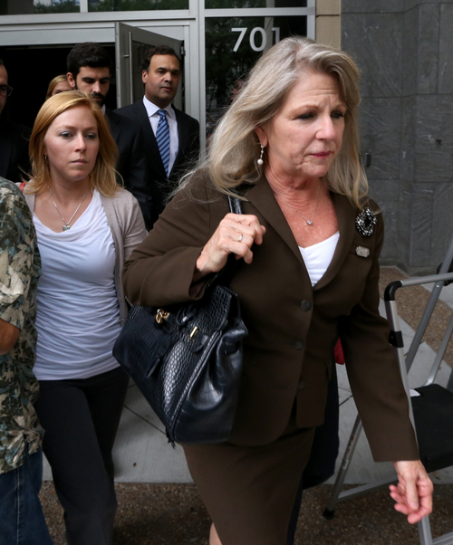 Former Virginia first lady Maureen McDonnell, right, and daughter Cailin Young, left, leave the federal courthouse in Richmond, Va., Thursday, Sept. 4, 2014, after the former first lady was found guilty of nine charges against her in the federal corruption trial against her and  her husband, former governor Bob McDonnell. (AP Photo/Richmond Times Dispatch, Bob Brown)