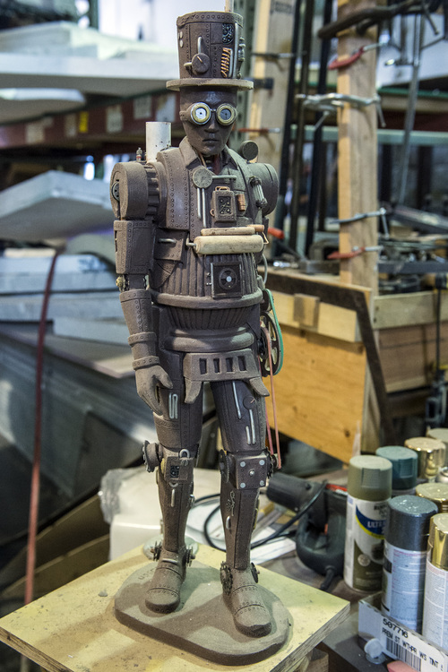 Chris Detrick  |  The Salt Lake Tribune A Steam Man prototype being built for a costume for the Evermore Adventure Park at their warehouse in Lindon Wednesday August 27, 2014.