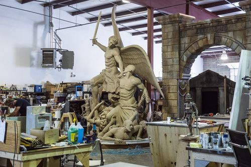Chris Detrick  |  The Salt Lake Tribune A sculpture of Michael Defeating the Devil that will be used in Evermore Adventure Park at their warehouse in Lindon Wednesday August 27, 2014.