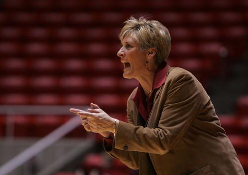 Utah coach Elaine Elliott directs her team as the University of Utah women's basketball team beat TCU in Salt Lake City to give the Utes their 19th straight win. Wednesday, February 27, 2008. Jim Urquhart/The Salt Lake Tribune