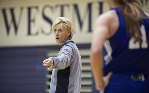 Lennie Mahler  |  Tribune file photo Westminster women's basketball assistant coach Elaine Elliott advises the team during practice in the Eccles Athletic Center on campus Friday, March 14, 2014.