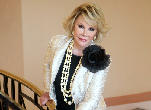 """FILE - This Oct. 5, 2009 file photo shows Joan Rivers posing as she presents """"Comedy Roast with Joan Rivers """" during the 25th MIPCOM (International Film and Programme Market for TV, Video, Cable and Satellite) in Cannes, southeastern France. In October 1986, Rivers made TV history as the first woman hosting a late-night broadcast talk show. She was the first face of the Fox network, headlining its first program, """"The Late Show Starring Joan Rivers.""""  (AP Photo/Lionel Cironneau, File)"""