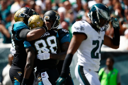 Jacksonville Jaguars' Allen Hurns (88) celebrates with teammates after scoring a touchdown during the first half of an NFL football game against the Philadelphia Eagles, Sunday, Sept. 7, 2014, in Philadelphia. (AP Photo/Matt Rourke)