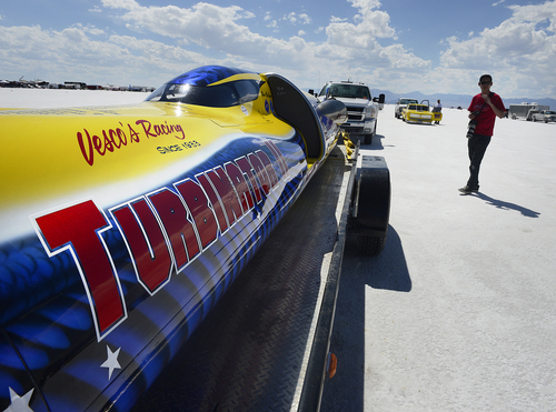 "Scott Sommerdorf   |  The Salt Lake Tribune The ""Turbinator II"" waits in line for it's turn to make a run at the Utah Salt Flats Racing Association World of Speed, Sunday, September 7, 2014."
