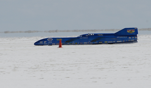 "Scott Sommerdorf   |  The Salt Lake Tribune The ""Challenger II"" driven by Danny Thompson during it's 397 mph run at the Utah Salt Flats Racing Association World of Speed, Sunday, September 7, 2014."