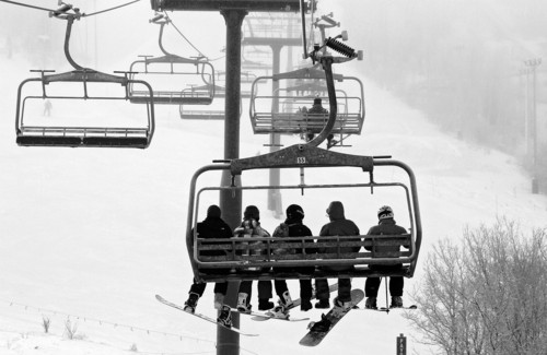 Francisco Kjolseth     Tribune file photo Skiers and snowboarders ride the Payday lift at Park City Mountain Resort. The resort may or may not have a ski season this year.
