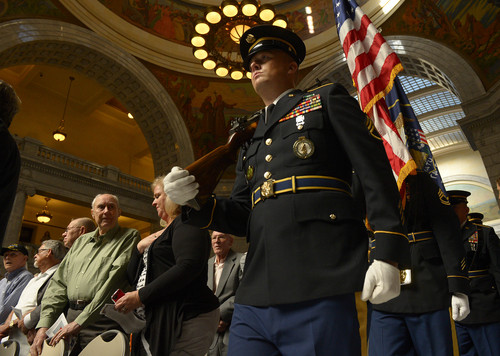 Leah Hogsten  |  The Salt Lake Tribune The Utah National Guard posts the colors during the ceremony.   One hundred eighty one Korean War veterans were presented with a medal from the government of The Republic of Korea and recognized for their service, Wednesday, September 10, 2014 in the Utah Capitol rotunda.