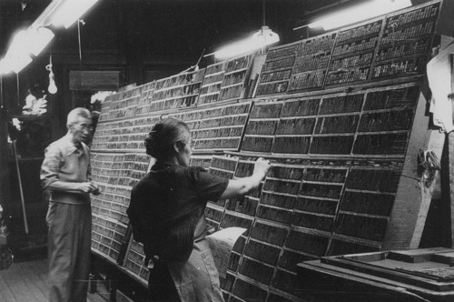 Courtesy J. Willard Marriott Library Special Collections Sho Tatai, left, assists Kuniko Terasawa, the owner of The Utah Nippo newspaper, in picking type for the next issue, circa late 1950s.