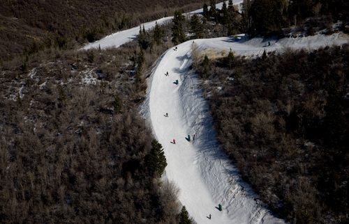 Kim Raff I The Salt Lake Tribune Utah resorts, including Deer Valley, are mostly relying on man-made snow to cover runs, but more than 100 of the state's 138 chairlifts are operating, serving 595 runs.