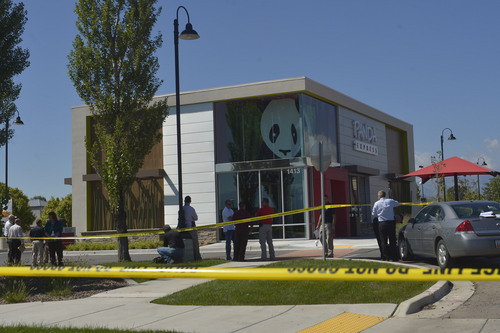 Chris Detrick  |  The Salt Lake Tribune The scene outside of a Panda Express in Saratoga Springs Wednesday September 10, 2014.  A male ó who reportedly was seen wielding a samurai sword ó was shot and killed by police in Saratoga Springs on Wednesday morning.