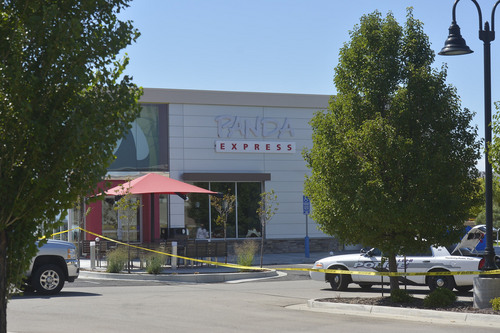 Chris Detrick  |  The Salt Lake Tribune The scene outside of a Panda Express in Saratoga Springs on Wednesday. A man who reportedly was seen wielding a samurai sword was shot and killed by police in Saratoga Springs on Wednesday morning.