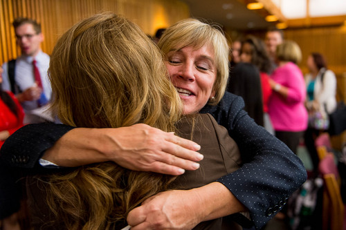 Trent Nelson  |  The Salt Lake Tribune Dr. Deneece G. Huftalin, right, embraces a friend after being named the new President of Salt Lake Community College, Thursday September 11, 2014.