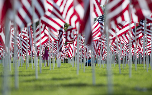 Steve Griffin  |  The Salt Lake Tribune   Children play in a field of over 3,000 seven-foot- tall U.S. flags as they sway in the breeze outside Sandy City Hall in Sandy, Utah, Wednesday, September 10, 2014.  Homes for Heroes and the Colonial Flag Foundation have sponsored Utah's 13th Annual Healing Field flag display to honor and remember the victims of the 9/11 terrorist attacks. Each flag representing a life lost in horrific attacks.