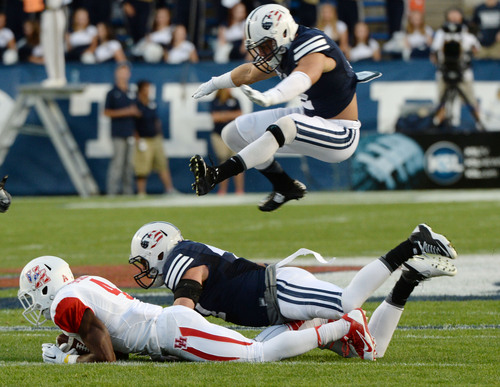 Steve Griffin  |  The Salt Lake Tribune   during game between BYU and Houston and LaVell Edwards Stadium in Provo, Thursday, September 11, 2014.