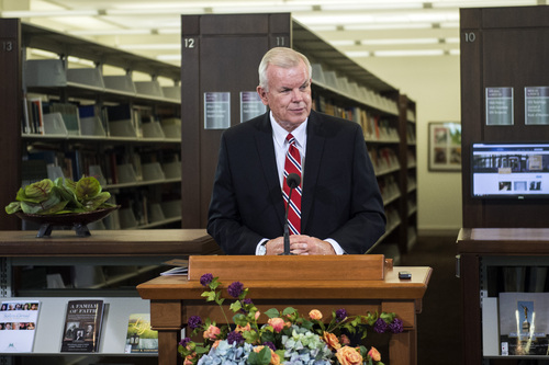 "Chris Detrick  |  The Salt Lake Tribune Church Historian and Recorder Elder Steven E. Snow speaks at the LDS Church History Library Wednesday September 3, 2014. The new exhibit entitled ""Foundations of Faith"" includes 26 books, manuscripts and other historical documents that date back to the 19th Century and the beginnings of Mormonism."