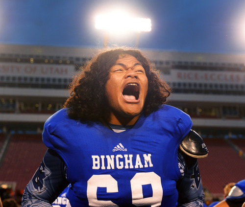 Steve Griffin  |  The Salt Lake Tribune   Bingham's Noa Taeatafa screams with excitement as Bingham performs the Haka after they defeated Brighton for the 5A championship at Rice Eccles Stadium in Salt Lake City, Utah Friday, November 22, 2013.