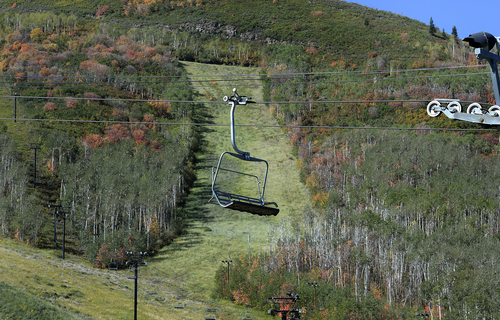 Scott Sommerdorf   |  The Salt Lake Tribune A stationary ski lift at Park City Mountain Resort, Thursday, Sept. 11, 2014, the day Vail purchased PCMR for $182.5 million