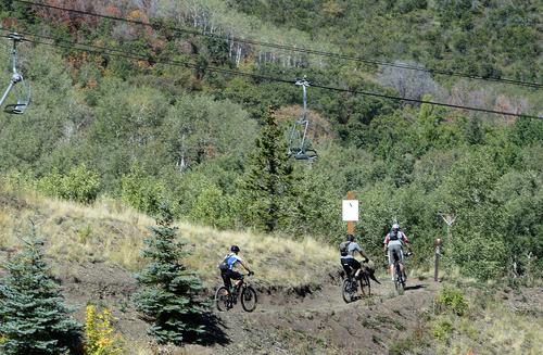 Scott Sommerdorf   |  The Salt Lake Tribune Mountain bikers ascend the hills at Park City Mountain Resort, Thursday, Sept. 11, 2014, the day Vail purchased PCMR for $182.5 million