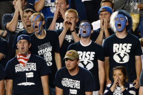 Steve Griffin  |  The Salt Lake Tribune   Cougar fans cheer their team on in the second half of  game between BYU and Houston and LaVell Edwards Stadium in Provo, Thursday, September 11, 2014.