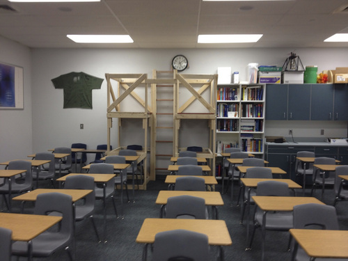 | Courtesy Photo  A Jordan District teacher said one year she started the year with more 50 students, so as a joke her students built  ìdouble decker desks.î One student sat on top and another on the bottom, kind of like bunk beds.