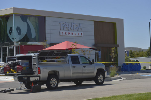 Chris Detrick  |  The Salt Lake Tribune A male ó who reportedly was seen wielding a samurai sword ó was shot and killed by police in Saratoga Springs on Wednesday morning, outside of a Panda Express.