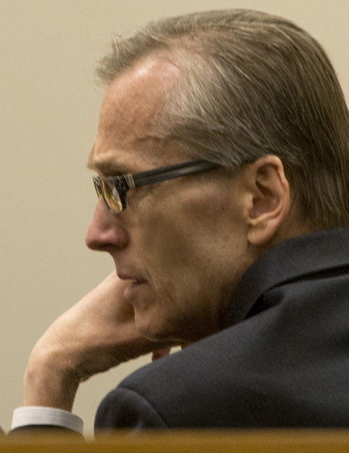 Rick Egan  |  The Salt Lake Tribune  Martin MacNeill listens to proceedings during his trial on forcible sexual abuse, in 4th District Judge Samuel McVey's courtroom, Wednesday, July 2, 2014