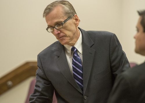 Rick Egan  |  The Salt Lake Tribune  Martin MacNeill enters  4th District Judge Samuel McVey's courtroom for his trial on forcible sexual abuse, in Provo, Wednesday, July 2, 2014
