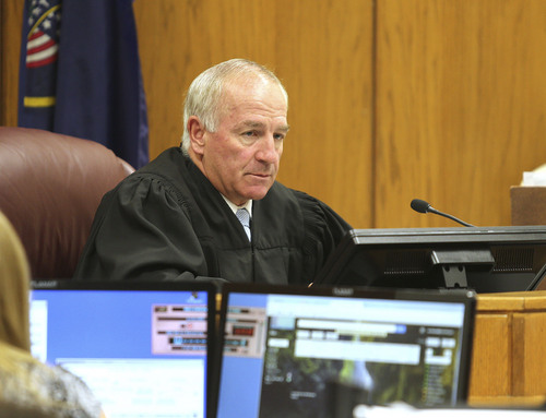 Judge Samuel D. McVey sentences  Martin Joseph MacNeill  in a forcible sex abuse case in Fourth District Court, MacNeill is also charged with killing his wife in a separate case and is scheduled to be sentenced this Friday,  Monday, Sept. 15, 2014, in Provo.