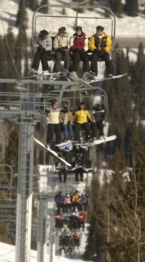 Skiers and snowboarders fill the Eagle Express at Solitude mountain resort. Salt Lake City is now marketing itself as Ski City USA because of its proximity to Solitude, Brighton, Snowbird and Alta. Photo by Francisco Kjolseth/The Salt Lake Tribune