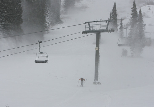 Scott Sommerdorf  |  Tribune File              A skiier tours up near the then-closed Collins lift at Wildcat Base at Alta Ski Resort. Salt Lake City is now marketing itself as Ski City USA because of its proximity to Solitude, Brighton, Snowbird and Alta.