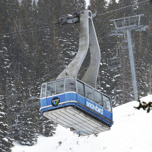Steve Griffin  |  The Salt Lake Tribune The blue tram at Snowbird ski resort in Little Cottonwood Canyon  Salt Lake City, Utah Monday, May 12, 2014. Salt Lake City is now marketing itself as Ski City USA because of its proximity to Solitude, Brighton, Snowbird and Alta.