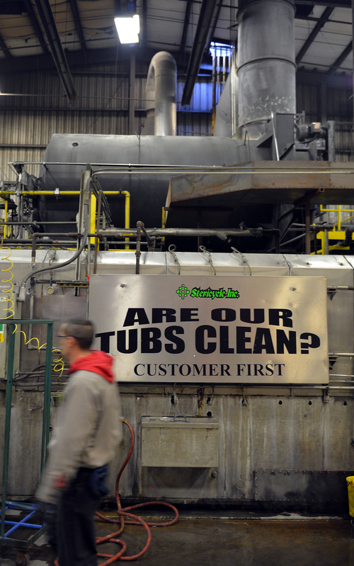 Keith Johnson | The Salt Lake Tribune The primary incinerator at Stericycle can be seen above a piece of machinery used to sterilize biohazard containers. The medical-waste handler wants to move its controversial incinerator out of a North Salt Lake neighborhood and it has secured remote state land in western Tooele County for that purpose. Activists are denouncing the state's role in the deal.