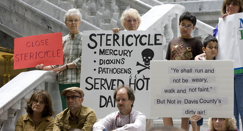 Paul Fraughton  |   The Salt Lake Tribune Residents of the Foxboro subdivision in North Salt Lake and other clean-air advocates hold signs expressing their  feelings about Stericycle's medical waste incinerator during a protest at the state Capitol in September. They wanted the incinerator to be shut down.