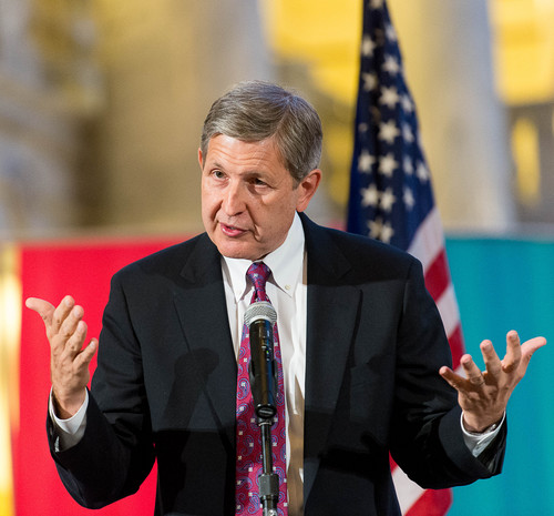 Trent Nelson  |  The Salt Lake Tribune Special Assistant Attorney General Gene Schaer  speaks to traditional marriage supporters who filled the Capitol Rotunda during a rally in Salt Lake City, Thursday September 18, 2014.