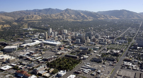 Steve Griffin  |   Tribune file photo Downtown Salt Lake City