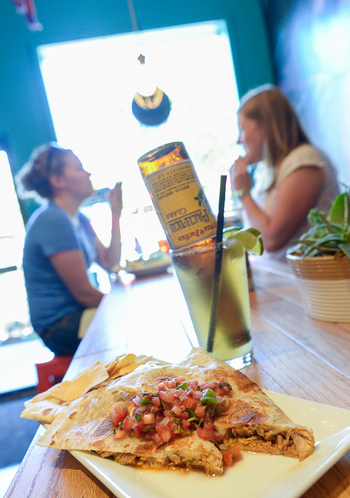 Francisco Kjolseth  |  The Salt Lake Tribune Quesadilla's and the Beerita are a couple of the options available at Taco Taco, a new place by the same owners of Cannella's at 208 E. 500 South in Salt Lake.
