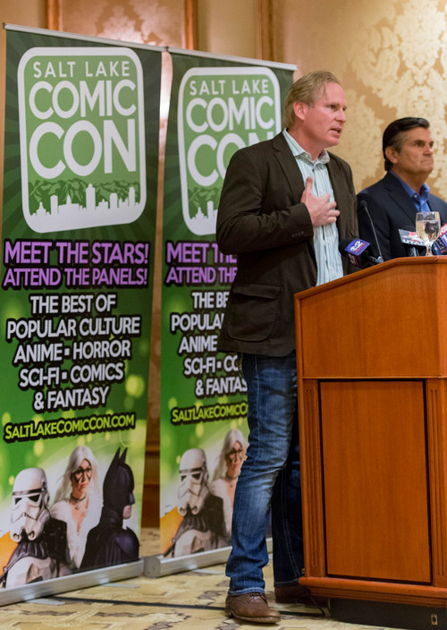 Trent Nelson  |  The Salt Lake Tribune Dan Farr and Bryan Brandenburg of Salt Lake Comic Con respond to San Diego Comic-Con's cease and desist letter, that asks Salt Lake Comic Con to change its name, during a press conference in Salt Lake City Wednesday August 6, 2014.