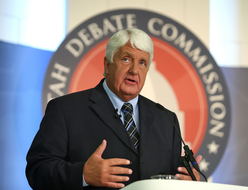 Tom Smart  |  Pool  Republican Congressman Rob Bishop speaks as he and Democratic challenger Donna McAleer debate in the Utah Debate Commission's 1st Congressional District debate at Weber State University Tuesday, Sept. 23, 2014, in Ogden.