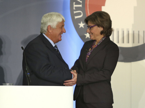 Tom Smart  |  Pool  Republican Congressman Rob Bishop and Democratic challenger Donna McAleer shake hands after the debate in the Utah Debate Commission's 1st Congressional District debate at Weber State University Tuesday, Sept. 23, 2014, in Ogden.