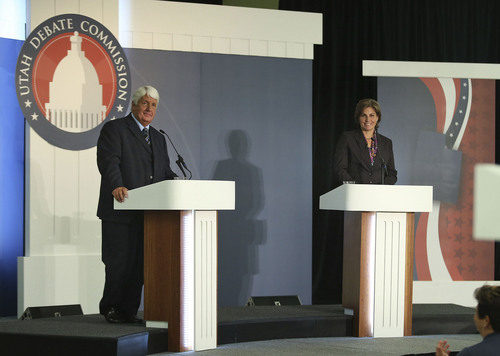 Tom Smart  |  Pool  Republican Congressman Rob Bishop and Democratic challenger Donna McAleer  debate in the Utah Debate Commission's 1st Congressional District debate at Weber State University Tuesday, Sept. 23, 2014, in Ogden.