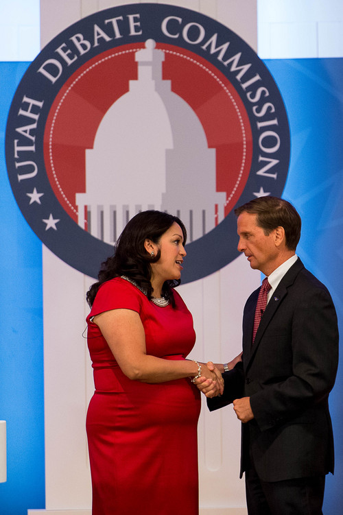 Trent Nelson  |  The Salt Lake Tribune Rep. Chris Stewart and challenger Luz Robles, left, shake hands following their debate at Southern Utah University in Cedar City, Thursday September 25, 2014. The two are contending for Utah's 2nd Congressional District.