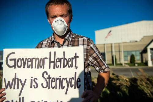 Chris Detrick  |  The Salt Lake Tribune Foxboro resident Spencer Stromberg participates in a rally at Stericycle Thursday September 25, 2014.  In the face of new allegations of misconduct leveled against a North Salt Lake medical waste incinerator, Utah Gov. Gary Herbert on Thursday asked Attorney General Sean Reyes to open a criminal probe.