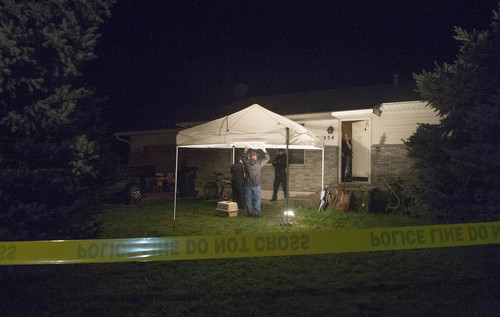 Rick Egan  |  The Salt Lake Tribune  Springville Police investigate the scene where 5 people were found dead in their home in Springville, Saturday, September 27, 2014