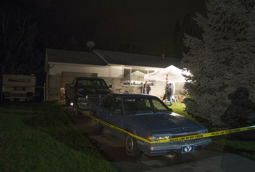 Rick Egan  |  The Salt Lake Tribune  Springville Police investigate the scene where 5 people were found dead in their home in Springville, Saturday, September 27, 2014.