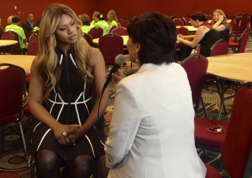 "Marissa Lang  |  The Salt Lake Tribune  Laverne Cox, an Emmy-nominated transgender actor best known for her role on the Netflix show ""Orange Is The New Black,"" speaks to Utah media at the Salt Palace Convention Center before delivering her keynote address at the 2014 Equality Utah Allies Dinner."