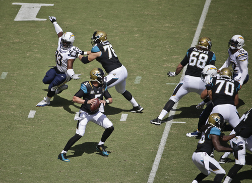 Jacksonville Jaguars quarterback Blake Bortles is well protected from the San Diego Chargers pass rush while looking for a receiver in the first quarter of a NFL football game Sunday, Sept. 28, 2014, in San Diego.  (AP Photo/Chris Carson)