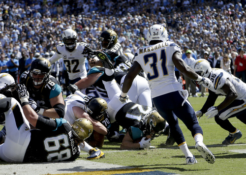Jacksonville Jaguars running back Toby Gerhart (21) scores against the San Diego Chargers during the first half of an NFL football game Sunday, Sept. 28, 2014, in San Diego. (AP Photo/Gregory Bull)