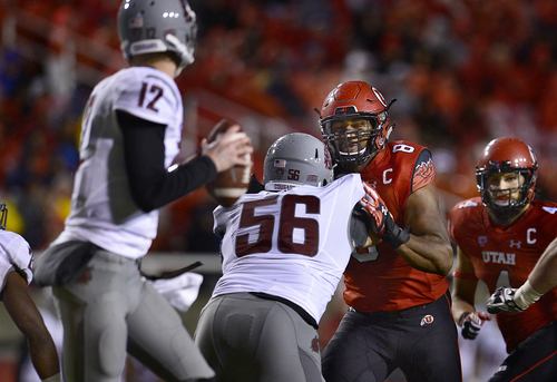 Scott Sommerdorf   |  The Salt Lake Tribune Utah DE Nate Orchard could not get past the Washington State offensive line on this play that went for an 81 yard completion for a TD to give Wash. State the lead at 28-27. Utah lost 28-27 to Washington State, Saturday, September 27, 2014.