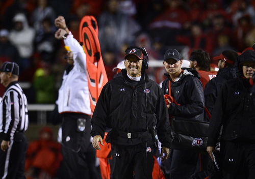 Scott Sommerdorf   |  The Salt Lake Tribune Utah head coach Kyle Whittingham during the late stages of the fourth quarter. Utah lost 28-27 to Washington State, Saturday, September 27, 2014.